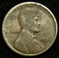 1920 D LINCOLN WHEAT CENT PENNY VG GOOD  B01