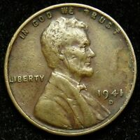 1941 D LINCOLN WHEAT CENT PENNY VF  FINE B01