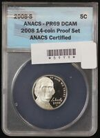 2008-S JEFFERSON NICKEL ANACS PF-69
