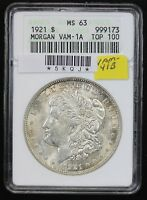 1921 MORGAN DOLLAR ANACS MINT STATE 63 VAM-41B TOP 100