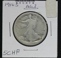 1916-S WALKING LIBERTY HALF DOLLAR 5CHF