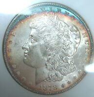 1878-7 TAIL FEATHER  MORGAN SILVER DOLLARNGC MINT STATE 64 ELECTRIC BLUE RIM TONINGOFS