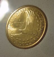 COMMEMORATIVE CERTIFIED AUTHENTIC $1 GOLD PLATED DOLLAR 2000 FROM MINT ROLL