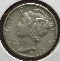 1945 D MERCURY SILVER DIME MICRO.COLLECTOR COIN FOR YOUR SET OR COLLECTION.5