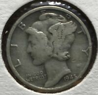 1945 D MERCURY SILVER DIME MICRO.COLLECTOR COIN FOR YOUR SET OR COLLECTION.10