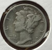1945 D MERCURY SILVER DIME MICRO.COLLECTOR COIN FOR YOUR SET OR COLLECTION.8