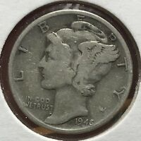 1945 MERCURY SILVER DIME MICRO.COLLECTOR COIN FOR YOUR SET OR COLLECTION. 10