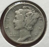1945 MERCURY SILVER DIME MICRO.COLLECTOR COIN FOR YOUR SET OR COLLECTION. 2F