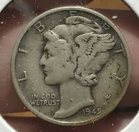 1945 MERCURY SILVER DIME MICRO.COLLECTOR COIN FOR YOUR SET OR COLLECTION. 9.