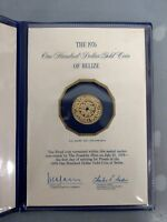 1976 12CT $100 GOLD COIN OF BELIZE PROOF CERT. OF AUTHENTICITY FRANKLIN MINT