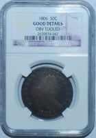 1806 NGC GOOD DETAILS O-121 T-29 R.4 POINTED 6 WITH STEM DRAPED BUST HALF DOLLAR