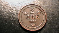 1896 SWEDEN 2 ORE ANCIENT WORLD COIN  KM 725  844B5