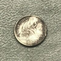1887 SEATED DIME COIN