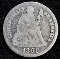 1891 S 10C LIBERTY SEATED SILVER DIME 1891-S A-156