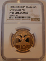 COSTA RICA 1970 BCCR GOLD 100 COLONES NGC PF68UC NATIVE GOLD ART