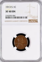 1913-S LINCOLN ONE CENT - WHEAT CENT - EXTRA FINE 40 BN NGC - SAN FRANCISCO MINT