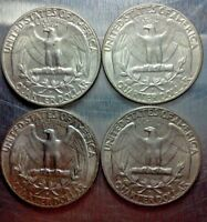 LOT OF 4 1964 WASHINGTON SILVER QUARTERS WITH MINT MARK D VARIETIES/ODDITIES