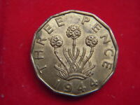 1944 GEORGE V1 BRASS THREEPENCE IN A HIGH GRADE WITH LUSTRE [MM69]