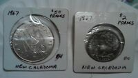 NEW CALEDONIA UNC 1967 50 FRANCS COIN & 1977 2 FRANCS UNC COIN NICE PAIR