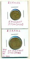 2 DIFFERENT COINS FROM ISRAEL   5 & 10 AGOROT  BOTH DATING 1970