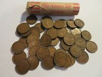 ROLL 50 PC 1947 COPPER PENNIES CANADIAN SMALL CENTS COINS CANADA PENNY GEORGE VI