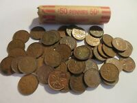 ROLL 50 PC 1952 COPPER PENNIES CANADIAN SMALL CENTS COINS CANADA PENNY GEORGE VI