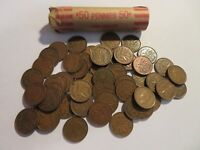 ROLL 50 PC 1945 COPPER PENNIES CANADIAN SMALL CENTS COINS CANADA PENNY GEORGE VI
