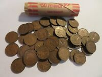 ROLL 50 PC 1946 COPPER PENNIES CANADIAN SMALL CENTS COINS CANADA PENNY GEORGE VI