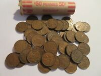 ROLL 50 PC 1944 COPPER PENNIES CANADIAN SMALL CENTS COINS CANADA PENNY GEORGE VI