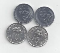 4 DIFFERENT 10 SEN COINS FROM MALAYSIA  2010 2011 2012 & 2013