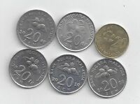 6 DIFFERENT 20 SEN COINS FROM MALAYSIA  2007 2008 2009 2010 2011 & 2012