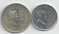 2 DIFFERENT COINS FROM THE PHILIPPINES   1 & 5 PISOS  BOTH DATING 2012