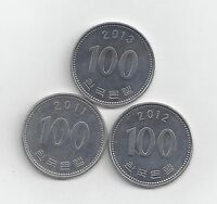 3 DIFFERENT 100 WON COINS FROM SOUTH KOREA  2011 2012 & 2013
