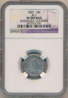 1807 DRAPED BUST DIME. JR-1. NGC EXTRA FINE  DETAILS