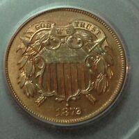 1872   PCGS PR65 RB    2 TWO CENT PIECE     COIN