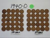 1940-D SOLID DATE LINCOLN WHEAT CENT 50 ROLL PENNIES