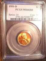 1951-D 1C  LINCOLN CENT, PCGS MINT STATE 66 RD SUPERIOR GEM, BLAST RED, SHARP STRIKE