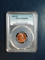 1951 D LINCOLN WHEAT CENT PCGS MINT STATE 66 RED GEM 1C COIN PRICED TO SELL NOW
