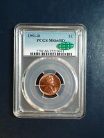 1951 D LINCOLN WHEAT CENT PCGS MINT STATE 66 RED CAC GEM 1C COIN PRICED TO SELL NOW