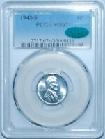 1943 S PCGS MINT STATE 67 CAC LINCOLN WHEAT STEEL CENT