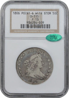 1806 O-115 POINTED 6 STEM DRAPED BUST HALF DOLLAR - NGC F15  GREAT EYE APPEAL