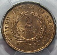 1864 PCGS MINT STATE 64 RB TWO CENT PIECE, SUPER COLOR & EYE APPEAL, SHIPS FREE