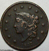 1837 1C CORONET HEAD LARGE CENT OLD US COPPER COIN HIGHER GRADE COLLECTIBLE