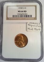 1938 S/S FS 016.5 LINCOLN CENT NGC MINT STATE 66 RD RED  COIN35055