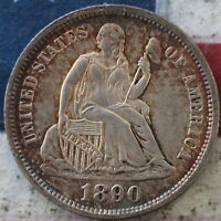 KAPPYSCOINS  1890  SEATED LIBERTY  DIME CHOICE BU UNC  ORIGINAL TONED