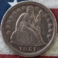 KAPPYSCOINS  1851   SEATED LIBERTY  DIME ORIGINAL CH AU ALMOST UNC STARS OBVERSE