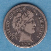 1899 O F FINE BARBER DIME TONED WITH LIBERTY