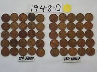 1948-D SOLID DATE LINCOLN WHEAT CENT 50ROLL PENNIES