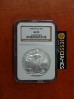 2008 $1 AMERICAN SILVER EAGLE NGC MS70 CLASSIC BROWN LABEL