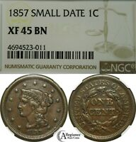 1857 1C BRAIDED HAIR LARGE CENT NGC EXTRA FINE 45 BN  OLD TYPE COIN PENNY SMALL DATE